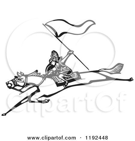 Clipart of a Valkyrie Warrior with a Flag on a Leaping Horse Black and White Woodcut - Royalty Free Vector Illustration by xunantunich