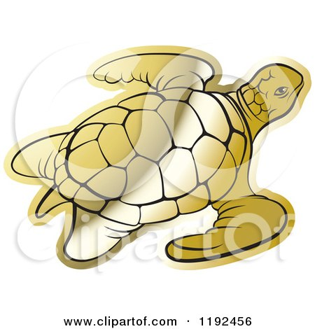 Clipart of a Gold Sea Turtle - Royalty Free Vector Illustration by Lal Perera