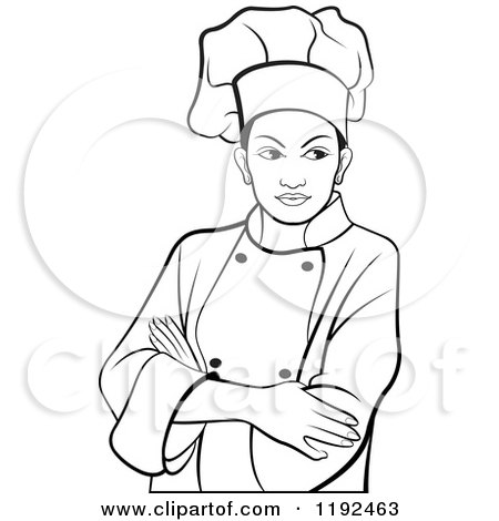 Clipart of a Female Chef with Folded Arms - Royalty Free Vector ...