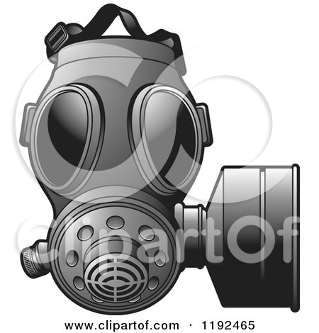Clipart of a Grayscale Gas Mas - Royalty Free Vector Illustration by Lal Perera