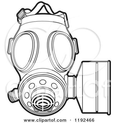 Clipart of an Outlined Gas Mask - Royalty Free Vector Illustration by Lal Perera