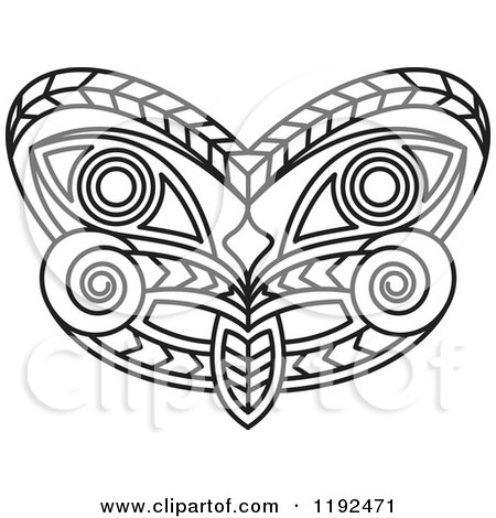 Clipart of a Black and White Tribal Mask - Royalty Free Vector Illustration by Lal Perera