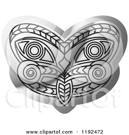 Clipart of a Silver Tribal Mask - Royalty Free Vector Illustration by Lal Perera