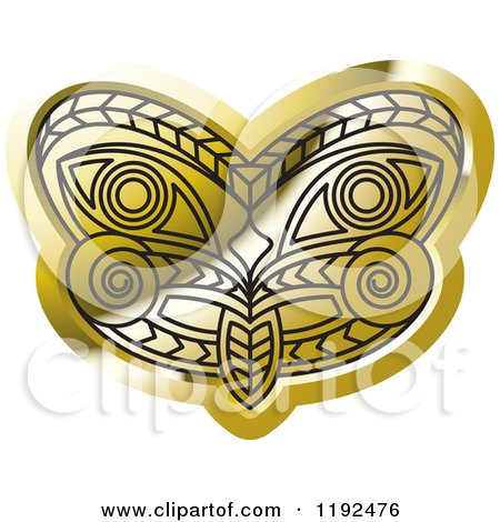 Clipart of a Gold and Black Tribal Mask - Royalty Free Vector Illustration by Lal Perera