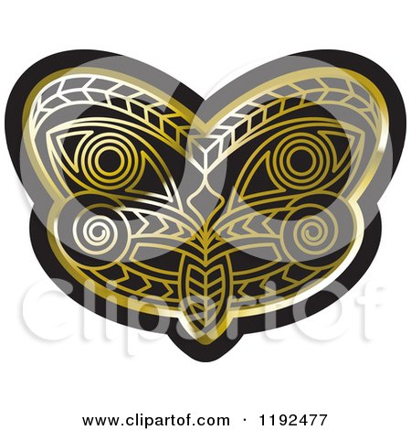 Clipart of a Gold and Black Tribal Mask 2 - Royalty Free Vector Illustration by Lal Perera