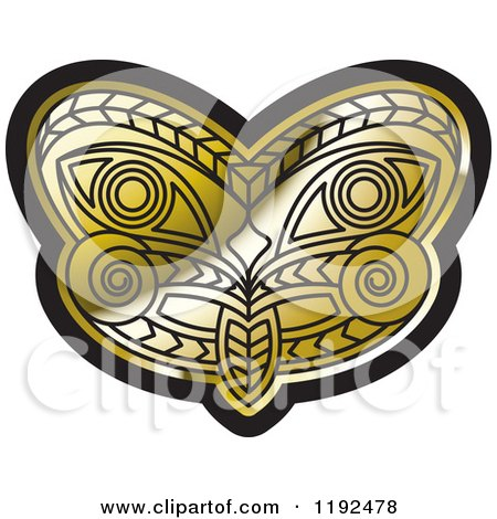 Clipart of a Gold and Black Tribal Mask 3 - Royalty Free Vector Illustration by Lal Perera