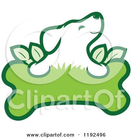 Cartoon of a Cute Puppy over an Organic Leafy Green Doggy Bone - Royalty Free Vector Clipart by Maria Bell