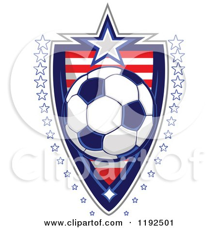 Clipart of a Patriotic Soccer Ball over an American Sripes Shield with a Border of Stars - Royalty Free Vector Illustration by Chromaco