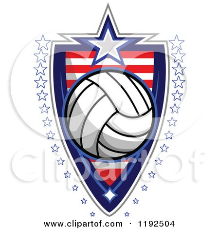 Clipart of a Patriotic Volleyball over an American Sripes Shield with a Border of Stars - Royalty Free Vector Illustration by Chromaco