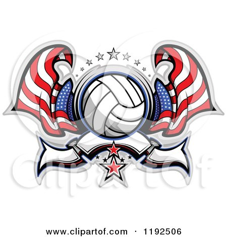 Clipart of a Patriotic Volleyball with Two American Flags Stars and a Banner - Royalty Free Vector Illustration by Chromaco
