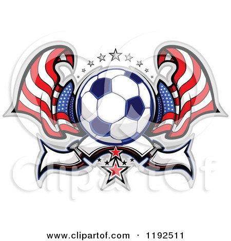 Clipart of a Patriotic Soccer Ball with Two American Flags Stars and a Banner - Royalty Free Vector Illustration by Chromaco