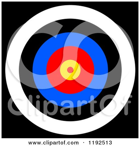 Clipart of a Target with Colorful Rings on Black - Royalty Free CGI Illustration by oboy