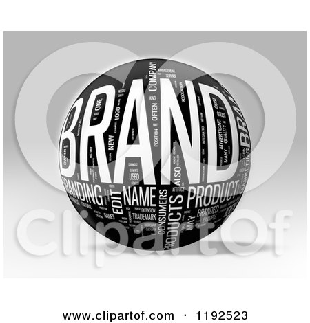 Clipart of a 3d Grayscale BRAND Word Collage Sphere, on a Shaded Background - Royalty Free CGI Illustration by MacX