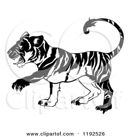 Clipart of a Black and White Chinese Zodiac Tiger in Profile - Royalty Free Vector Illustration by AtStockIllustration