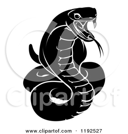 Clipart of a Black and White Chinese Zodiac Snake - Royalty Free Vector Illustration by AtStockIllustration