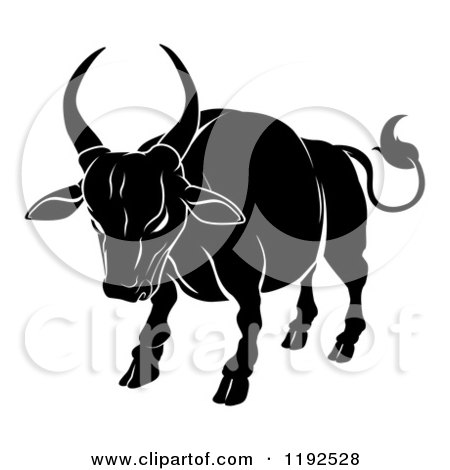 Clipart of a Black and White Chinese Zodiac Ox - Royalty Free Vector