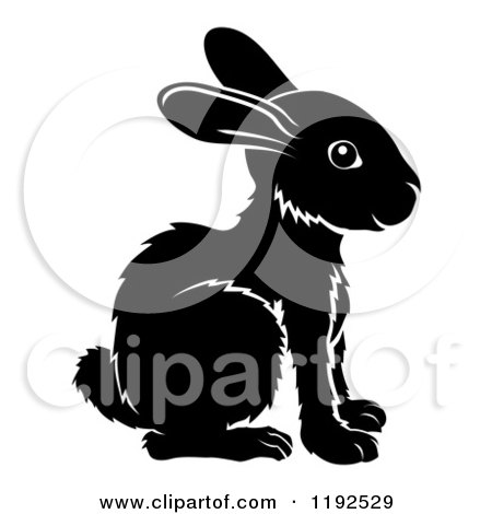 Clipart of a Black and White Chinese Zodiac Rabbit in Profile - Royalty Free Vector Illustration by AtStockIllustration