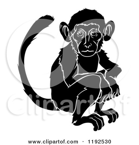 Clipart of a Black and White Chinese Zodiac Monkey - Royalty Free Vector Illustration by AtStockIllustration