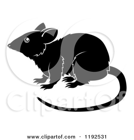 Clipart of a Black and White Chinese Zodiac Rat in Profile - Royalty Free Vector Illustration by AtStockIllustration