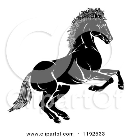 Clipart of a Black and White Chinese Zodiac Horse in Profile - Royalty Free Vector Illustration by AtStockIllustration