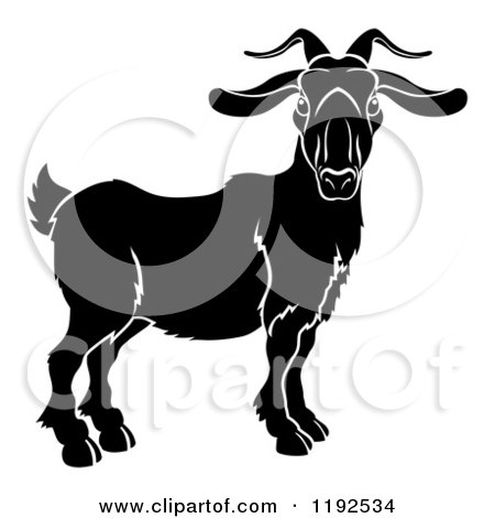 Clipart of a Black and White Chinese Zodiac Goat Ram - Royalty Free Vector Illustration by AtStockIllustration