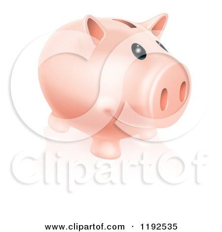 Cartoon of a Happy Piggy Bank Smiling - Royalty Free Vector Clipart by AtStockIllustration