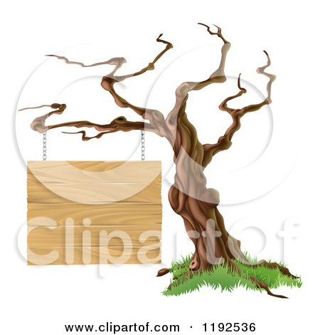 Cartoon of a Bare Tree with a Wooden Sign Suspended from a Branch - Royalty Free Vector Clipart by AtStockIllustration