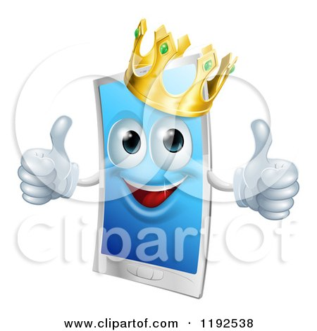 Cartoon of a Happy Touch Screen Cell Phone Mascot Wearing a Crown and Holding Two Thumbs up - Royalty Free Vector Clipart by AtStockIllustration