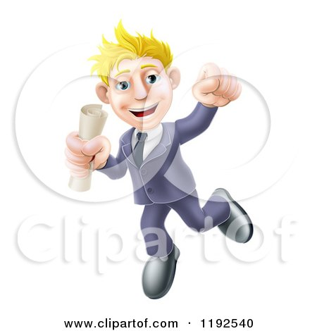 Cartoon of a Happy Young Graduate Business Man Jumping and Holding a Diploma - Royalty Free Vector Clipart by AtStockIllustration