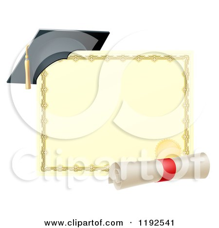 Cartoon Of A Graduation Cap Resting On A Certificate With A Diploma
