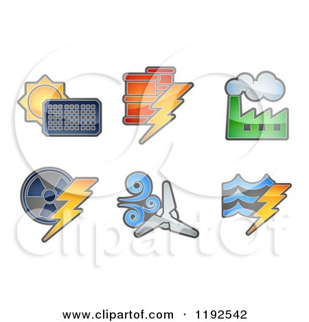 Cartoon of Energy and Electricity Icons - Royalty Free Vector Clipart by AtStockIllustration