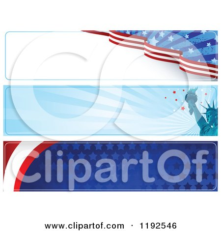 Clipart of Patriotic American Themed Website Banners - Royalty Free Vector Illustration by Pushkin