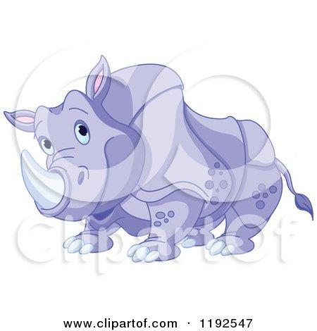 Happy Cute Purple Rhino Posters, Art Prints