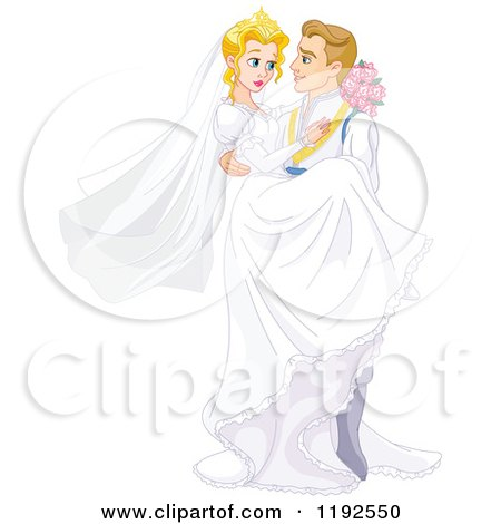 Cartoon of a Fairy Tale Prince Groom Carrying the Bride Princess - Royalty Free Vector Clipart by Pushkin
