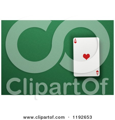 Clipart of a 3d Ace of Hearts Playing Card over a Green Felt Surface with Copyspace - Royalty Free CGI Illustration by stockillustrations