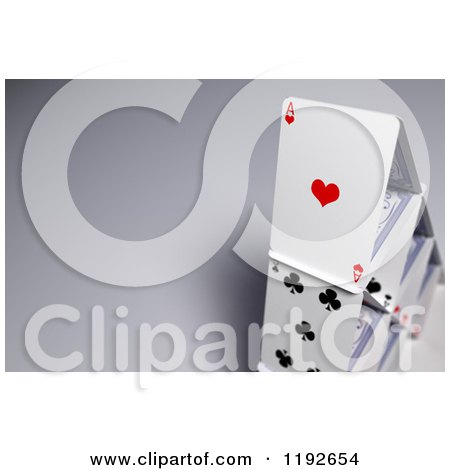 Clipart of a 3d House of Cards on Shading - Royalty Free CGI Illustration by stockillustrations