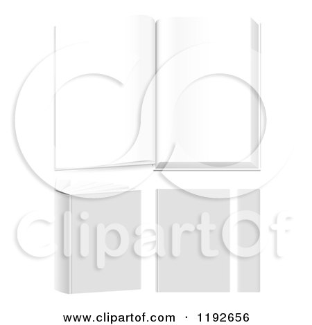 Clipart of 3d Books Showin Open, Closed and from Different Angles - Royalty Free Vector Illustration by TA Images