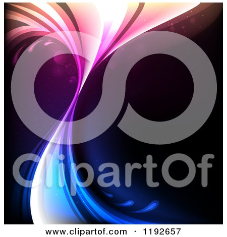 Clipart of a Gradient Colorful Splash over Black - Royalty Free Vector Illustration by TA Images