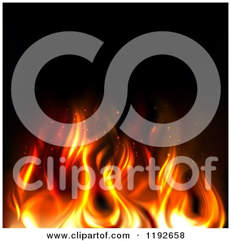 Clipart of Hot Orange and Red Flames over Black - Royalty Free Vector Illustration by TA Images