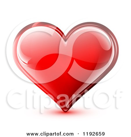 Clipart of a Red Glossy Heart with Light Reflections on White - Royalty Free Vector Illustration by TA Images