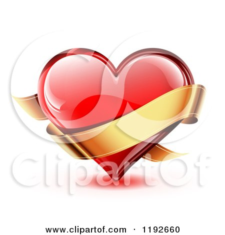 Clipart of a Red Glossy Heart with Light Reflections and a Golden Ribbon Banner on White - Royalty Free Vector Illustration by TA Images