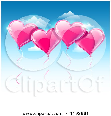 Clipart of a Pink Valentines Day Heart Balloons Floating over a Gradient Blue Sky with Copyspace - Royalty Free Vector Illustration by TA Images