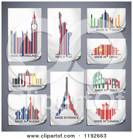 Clipart of Colorful Patriotic Country Bar Codes with Landmarks and Symbols on Gray - Royalty Free Vector Illustration by Oligo