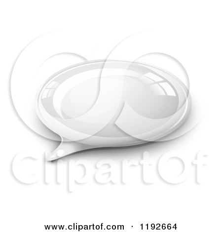 Clipart of a 3d Reflective White Speech Bubble on Shading - Royalty Free Vector Illustration by Oligo
