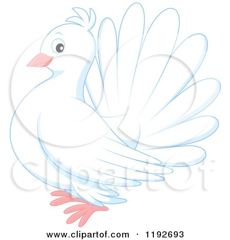 Cartoon of a Cute White Dove or Pigeon - Royalty Free Vector Clipart by Alex Bannykh