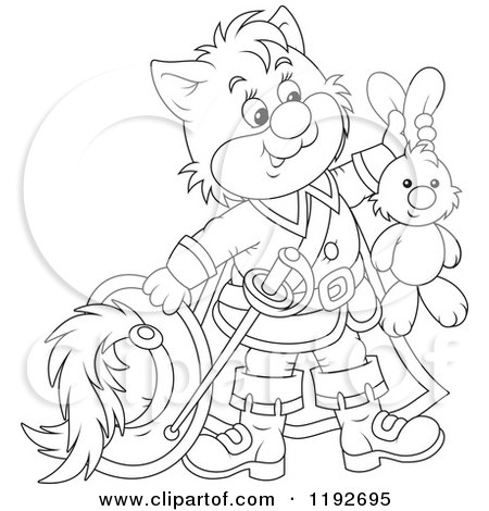 Cartoon of an Outlined Puss in Boots Holding up a Stuffed Rabbit - Royalty Free Vector Clipart by Alex Bannykh