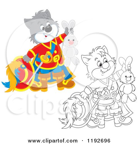 Cartoon of Colored and Outlined Puss in Boots Holding up a Stuffed Rabbit - Royalty Free Vector Clipart by Alex Bannykh