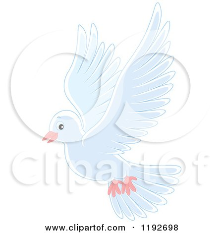 Cartoon of a Cute White Dove or Pigeon Flying - Royalty Free Vector Clipart by Alex Bannykh