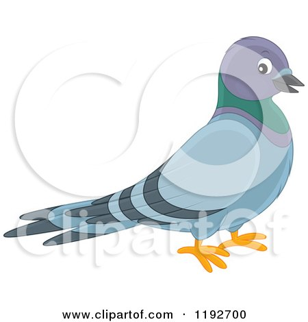 Cartoon of a Cute Happy Pigeon - Royalty Free Vector Clipart by Alex Bannykh