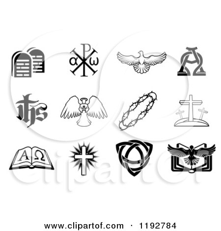 Clipart of Black and White Christian Icons 4 - Royalty Free Vector Illustration by AtStockIllustration